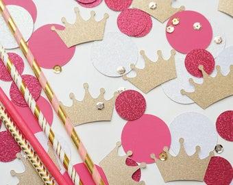 Princess Confetti, Tiara Confetti, Princess Party Confetti, Birthday Party Decor, Birthday Party Confetti, Party Confetti, Pink Confetti