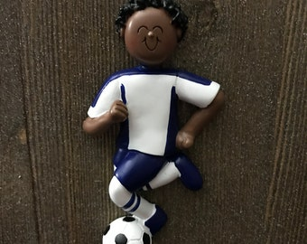Personalized soccer Christmas ornament boy