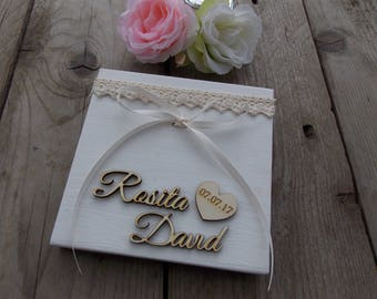 Ring Carrier Wedding Book - Ring Cushion / Wedding / Ringbox / Ring Cage / Wood
