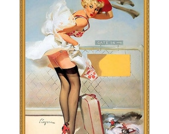 Up In The Air (Woooooosh) - 1965, Gil Elvgren, Pin-up Girl, Pulp Era Cover Painting, Oil On Canvas, 24 x 36 in