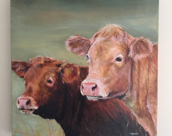 "Tink and Whitey. Cow painting  original oil on canvas ""TINK and WHITEY"""
