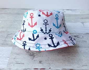Bucket Hat | Sun Hat | Visor | Baby Hat | Red White Blue | Anchors | Summer Hat | Gender Neutral | 4th of July
