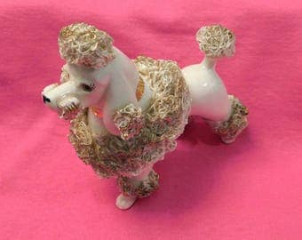 Vintage Spahgetti white and gold French Poodle 1950s 1960s ceramic statue