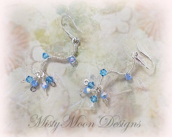 Ice Blue Swarovski Crystal Wave Earrings Hand Wrapped 925 Sterling Silver