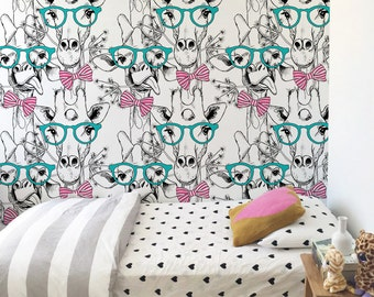Hipster giraffe wallpaper, Kids room wall decal, Cute wall mural for girls, Reusable, Removable #76