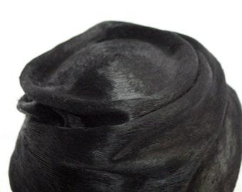 Beaver fur Felt black hat,Black fur felt bibi,Felt handmade hat,Milliner,hatter,hat shop,authentic vintage beaver fur felt