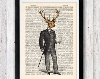 Deer Gentleman Animal Fashion Art Vintage Dictionary Page Book Art Print