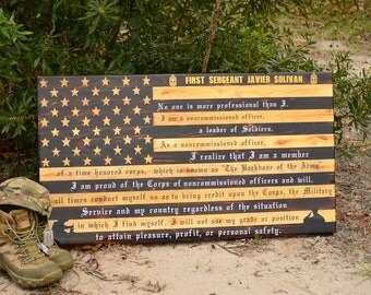 Rustic American Flag with Customizable Message- Carved Stars - Epoxy Finish - Farewell Gift- Navy, Air Force, Army, Marine