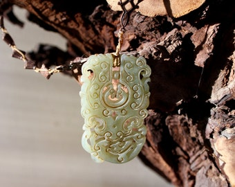 Old Jade Water Dragon Amulet Necklace