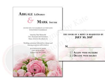 Rose Wedding Invitation  - Can Also be Made into a Bridal Shower Invitation