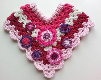 Baby girl PINK PONCHO, Pink, white, purple, violet, warm beatiful gift for baby 0-3month, knitted and chrochet with flowers
