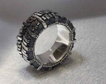 Biker Durable silver ring, protector ring, moto design, tractor, made to order, jewelry
