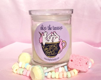 UNICORN CANDY CANDLES | Natural Soy Wax | 5 Scents: Maple Syrup, Fairy Floss, Bubblegum, Ice Cream, Sherbet & Candy Cane