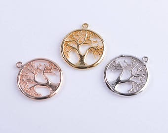 Tree of life pendant/necklace/charm, family tree charm/pendant , findings, 14k gold/rose gold/rhodium tree charm, 15.5mmx17.5mm