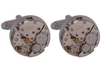 Silver Watch Movement Steampunk Skeleton Cufflinks (Non Working)