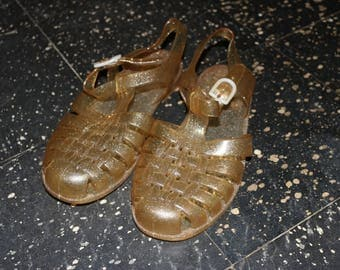 80s Gold Sparkle Jelly Shoes
