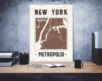 Nev York metropolis, New York nameplate, Iron plate, Custom sign, Metal name sign, Vintage sign, Art Prints Metal, Old vintage sign