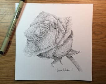 Stippled Rose Drawing Print // petals // flower // photograph // decoration // art // pointillism // micron // ink // dots / black and white