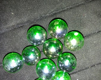 "10 - 5/8"" Shiney Green Marbles"