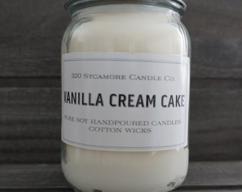 16 oz. Vanilla Cream Cake Pure Soy Candle with 100% Cotton Wick