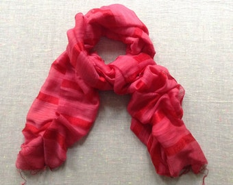 Silk and Linen  Fair Trade Scarf / Shawl / Wrap - Red