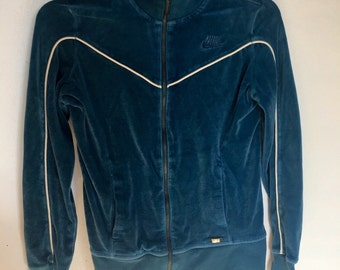90s Velour Nike jumpsuit track jacket zip up blue white piping sportswear womens small