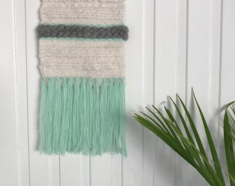SALE:  Medium, cream, grey and mint, woven wall hanging