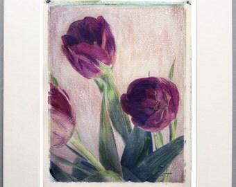 2 Tulip Polaroid Transfer 8x10 Print