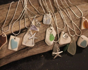 Sea Pottery and Sea Glass Necklaces