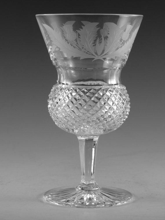 Edinburgh Crystal Thistle Cut Wine Glass Glasses 5