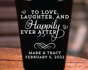 "Custom ""Love Laughter and Happily Ever After"" Wedding Favor Black Shot Glasses"