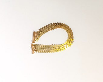 Bracelet Gold 3 chain gold plated over brass - model Camille COB rows