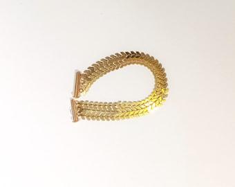 Bracelet Gold 3 row chain epi Golden on raw brass - model Camille
