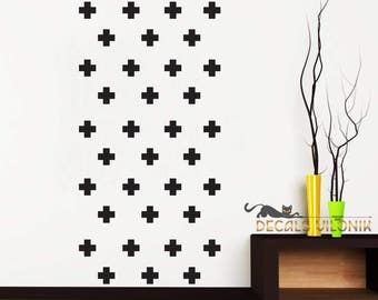 WALL DECAL CROSSES, Set of  Swiss Crosses, 2, 3, 4 or 5 inches, Nursery Kids Living Room, Bedroom Wall Decal, Custom Colour, Removable Vinyl
