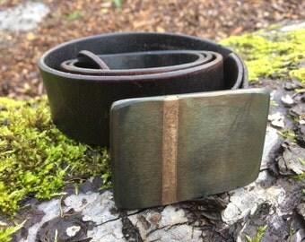 Modern Blackened Steel Belt Buckle with Bronze Inlay- Handmade