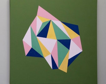 "Wall Art On Canvas, 20""x20"" (50x50 cm), Geometric Abstract Large Art, Art Decor,Original Art, Acrylic on Canvas, Modern Art, made to order,"