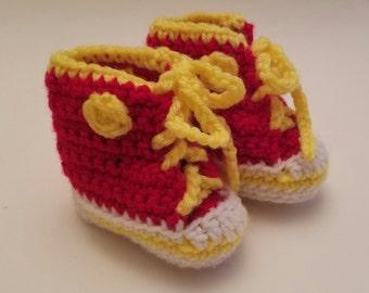 Handmade crochet baby hightop tennis shoes