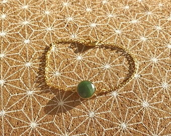 Handmade gold bracelet. Green Pearl. handmade jewelry