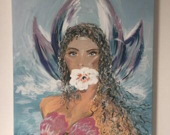 fantasy mermaid portrait original summer, handmade, portrait, girl, flower, futurism, art, realism, fantasy
