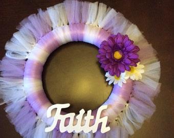 Faith tulle wreath