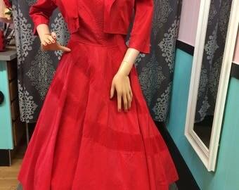 50s dress // 1950s vintage dress // amazing two piece taffeta dress
