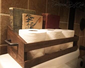 Bathroom Organization Toilet Paper Holder wood Crate