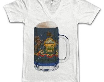 Ladies Pennsylvania State Flag Beer Mug Tee, Home State Tee, Unisex, State Pride, State Flag, Beer Tees, Beer T-Shirt, Beer Thinkers, Beer
