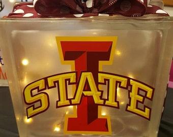 Iowa State Lighted Glass Block