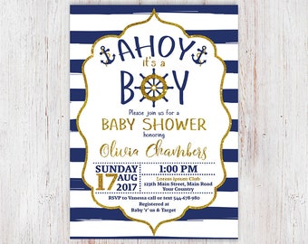 Nautical Baby Shower Invitation, Ahoy Its a Boy Baby Shower Invitation, Ahoy Its A Boy, Navy Blue and Gold, Anchor and Stripes 9