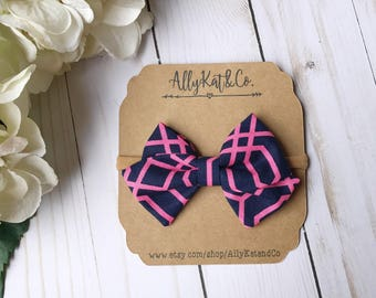 Pink and Navy Classic Fabric Bow, Fabric bows, Fabric bow headband, nylon headband, baby girl bow, baby accessories
