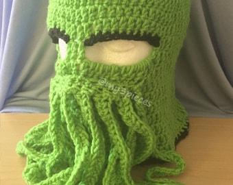 cthulhu mask, cthulhu ski mask, cosplay mask, octopus hat, octopus ski mask, cthulhu hat, ski mask, crocheted ski mask, steampunk mask