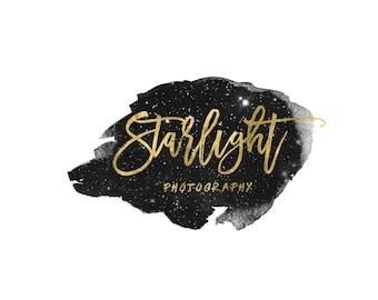 Gold Designer Logo / Star Logo / Gold Calligraphy Logo / Cursive Logo / Gold Photography Logo and Watermarks / Modern Logo Design Shop