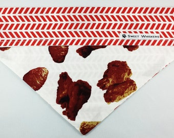 Reversible Bandana - red/white patterns with chicken wings
