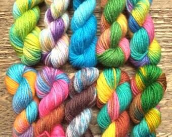 Hand Dyed Sock Yarn Mini Skein Set #58 -- 10 Mini Skeins -- 25 Yards Each/5.5 Grams Each